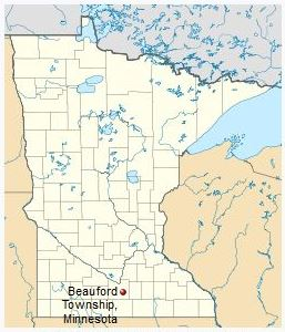 Minnesota map showing location of Beauford Township